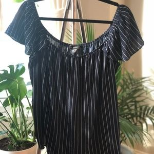 Navy and White Striped OTS Blouse